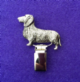 Dog Show Breed Ring Number Clip - Dachshund Wire Haired - FULL BODY Silver or Gold Style